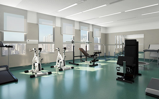 hospital interior gym gimnasio